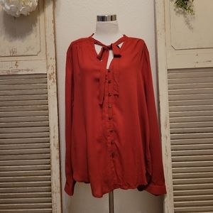 Maeve by Anthropologie Red Rouge botton down blouse size 16